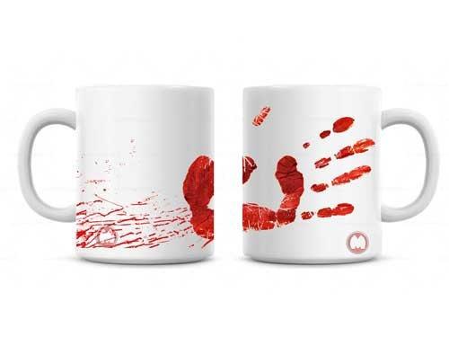 Dexter Inspired Bloody Hand Print with Blood Splatter Coffee Mug