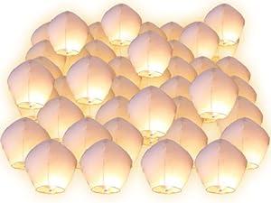 Lot de 50 Lanternes volantes blanches blanc surprise fête mariage céleste chinoise anniversaire extraordinaire