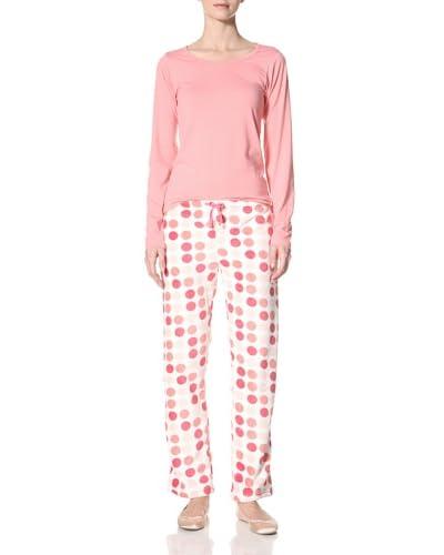 Aegean Apparel Women's Multi Dot Print PJ Set Long Sleeve Tee/Long Pant