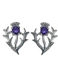 Sterling Silver Amethyst Thistle Earrings