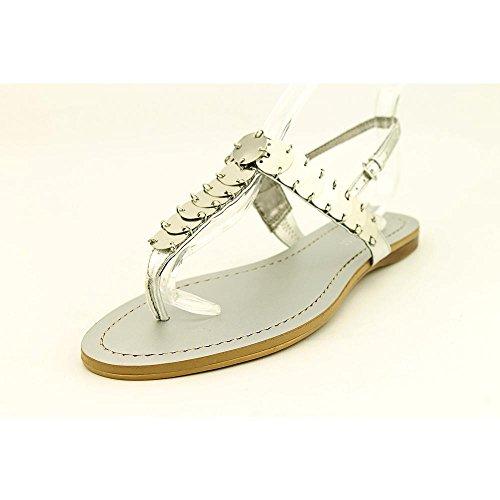Nine West Women'S Santo Gladiator Sandal,Silver Synthetic,5 M Us