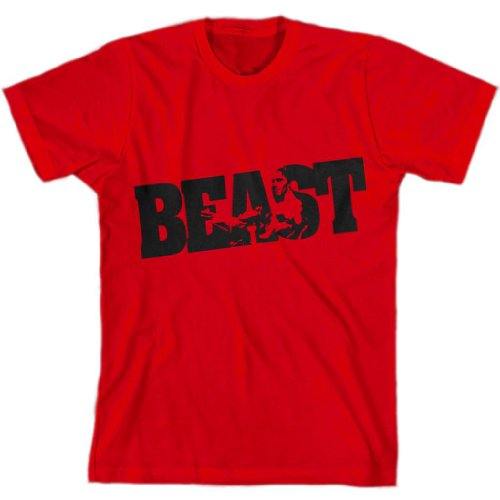 BEAST Fitness Gym Clothing Lifting Workout Mode Men's T-shirt by Shirt Kraise, Red, Large