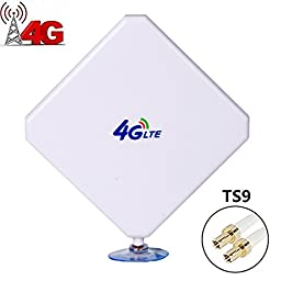 H-ber 4G LTE Antenna TS9 35dBi High Gain Dual Mimo Network Ethernet Outdoor Antenne Signal Receiver Booster Amplifier for Home Wifi Router Mobile Broadband