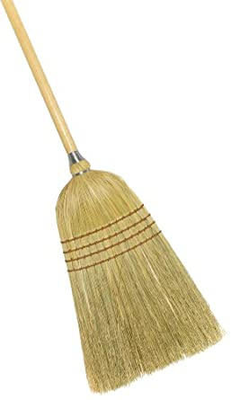"Weiler 44009 Corn Fiber Light Industrial Upright Broom with Wood Handle, 1-1/2"" Head Width, 54"" Overall Length"