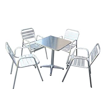 bistro garnitur garten sitzgruppe aluminium stapelbar tisch eckig 4x stuhl dc316. Black Bedroom Furniture Sets. Home Design Ideas