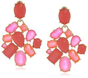 Kate Spade New York Crystal Fiesta Cluster Coral, Multi-Colored Clip Earrings