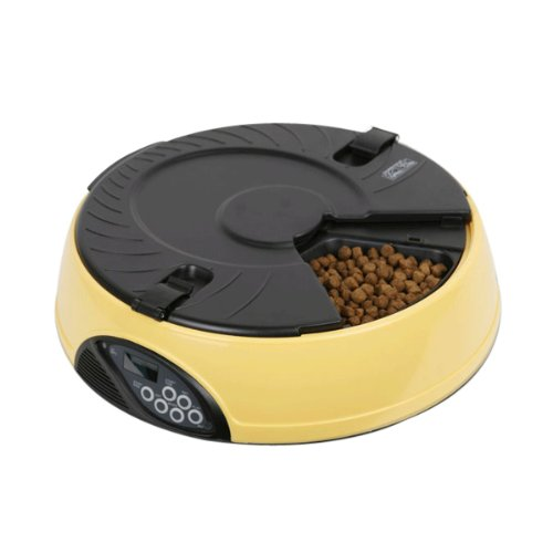 Innori 6-Meal Automatic Pet Feeder With Voice Recorder & Lcd Display,Colors Available (Yellow)