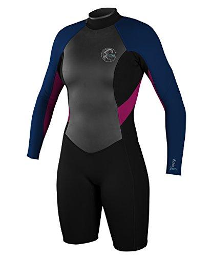 O'Neill Wetsuits Women's Bahia Long Sleeve Spring, Black/Cobalt/Berry, 6