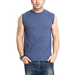 Gritstones Mens Round Neck Cotton T-Shirt (GS60211VSTNBLU(1)_Blue_Large)