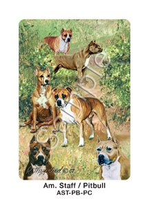 Best Friends Playing Cards, by Ruth Maystead - American Staffordshire Terrier - 1