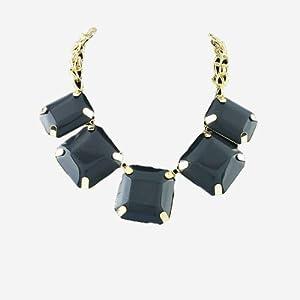 18k Yellow Gold Gp Five Square Onyx Stone Prong Setting Chocker