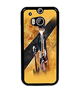PrintDhaba Guitar Girl D-5525 Back Case Cover for HTC ONE M8 EYE (Multi-Coloured)