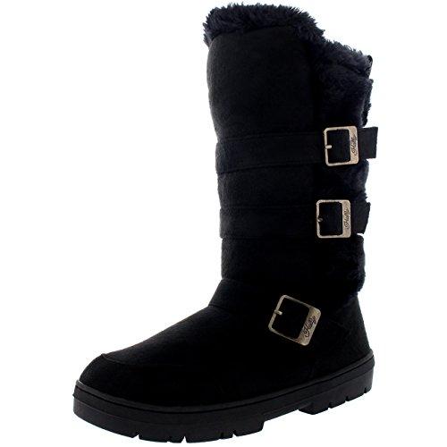 donna-triple-buckle-foderato-di-pelliccia-impermeabile-inverno-la-neve-lungo-meta-polpaccio-stivali-