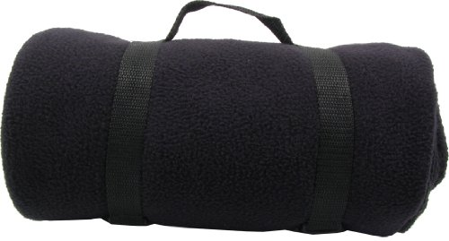 Simplicity Lot 4 Conveniently Packed Fleece Throws W/ Carrying Strap, Black