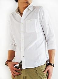 (ARCADE) 綿麻素材7分袖 無地シャツ