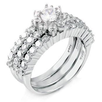 .85 Ct Cz Wedding Ring 3 Piece Set .925 Silver (8)