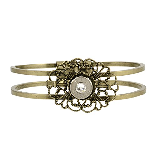 40 Caliber Bullet Hinge Cuff, Bullet Casing Bracelet with Filigree Design in Brass Finish (Bullets 40 Cal compare prices)
