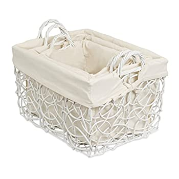 BirdRock Home Decorative Willow Basket Set with Liner | Set of 3 | Double Handle Wooden Basket | Rectangular Wicker Storage Bin | White