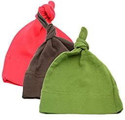 Mato & Hash Unisex Baby 100% Cotton Adjustable Knot Hat 3PK Red/Brown/Olive