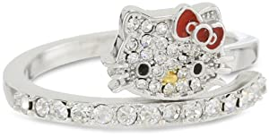 Hello Kitty Czech Crystals Flat Pave Face and Red Bow Girl's Spiral Ring, Size 7 by Hello Kitty
