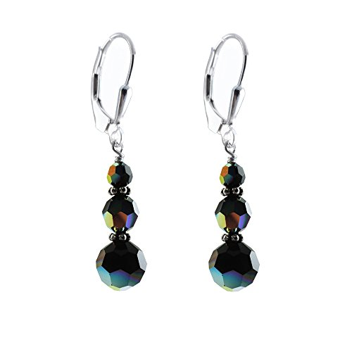 Black Ab, Earrings Made With Faceted Round Swarovski Crystal Elements, Sterling Silver Lever-Back