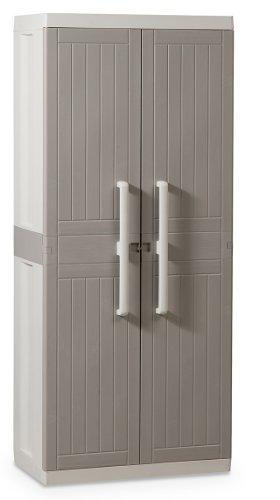 Z246R025 Kunststoffschrank Wood Line L, Besenschrank - Art 246, grau