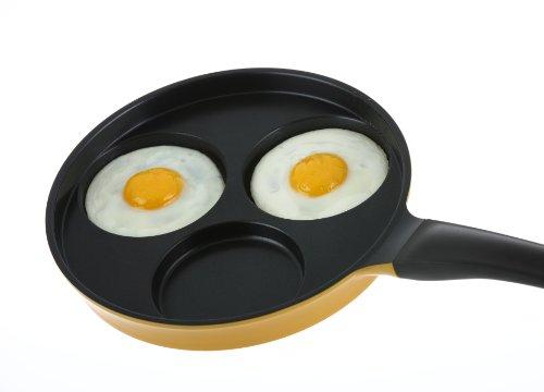 "Flamekiss 9.5"" Orange Ceramic Coated Nonstick 3-Cup Egg Cooker Pan by Amor, Innovative & Elegant Design, Nano Ceramic Coating w/ Silver Ion (100% PTFE & PFOA Free)"