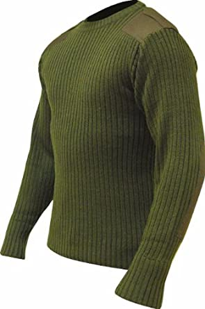 "Highlander Military Style Pullover - Olive Green with Reinforced Shoulders & Elbows (Small 36-38"" Chest)"