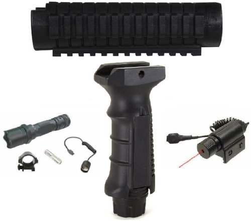 Ultimate Arms Gear Remington 870 12 Gauge Shotgun Package Kit: Weaver Picatinny Accessory Mount System + Flashlight + Red Dot Laser + Ergonomic Vertical Holder With Pressure Switch Inserts And Storage Cavity