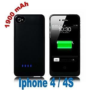 Eclipse iPhone 4 4S Case Batterie Externe 1900mAh Couleur Noir