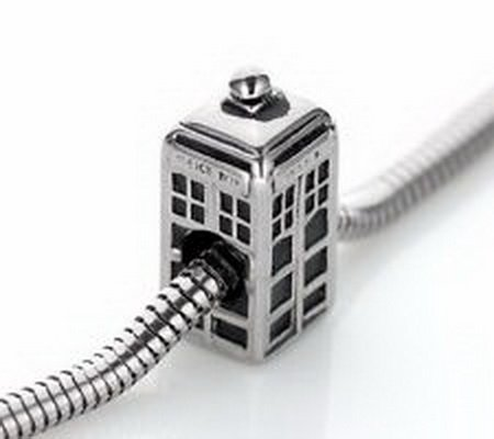 Beads Hut - POLICE BOX Charm Bead Stainless Steel Fits Bracelets