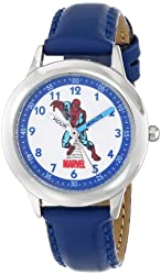"""Marvel Kids' W000116 """"Spiderman"""" Stainless Steel Watch with Leather Band"""