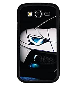 Fuson Premium White Racing Car Metal Printed with Hard Plastic Back Case Cover for Samsung Galaxy Grand Neo Plus GTi9060i