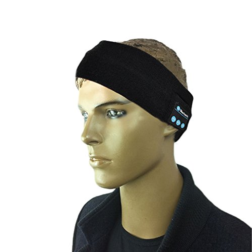 VWTECH® Free hands Knitted Bluetooth Music Beanie Hat Cap Headband Headphone Headset Earphones Stereo Speakers & Mic (Full Black)