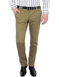 Only Vimal Men's Dark Green Slim Fit Cotton Chinos - B01H1XRBKU