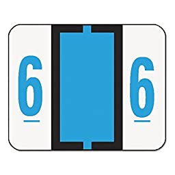 Smead Single Digit End Tab Labels, Number 6, Blue-on-White, 500/Roll
