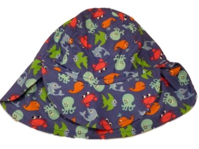 Toddler Boys Navy Blue Sun Hat Sea Creature Bucket Hat Fish Octopus Crab