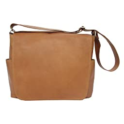 Piel Leather Urban Messenger Bag, Saddle, One Size