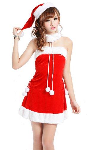 クリスマス/ワンピース/3点セット/コスチューム/レッド/ベアワンピース/パーティー/サンタクロース/LGA0052