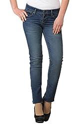 Ladybug Women Stretch Skinny Washed Jeans in Dark Blue