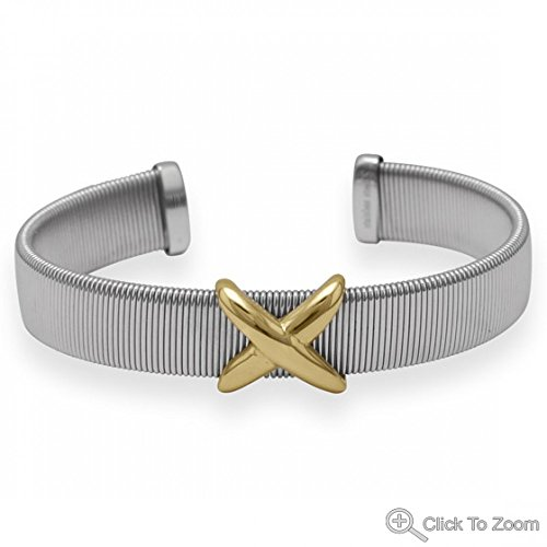 Two Tone Stainless Steel Cuff Bracelet With Inchx Inch Design