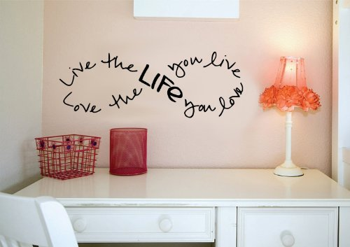 Live the Life You Love.. Bob Marley Infinity Quote Vinyl Wall Decal Sticker Art (Black, 8
