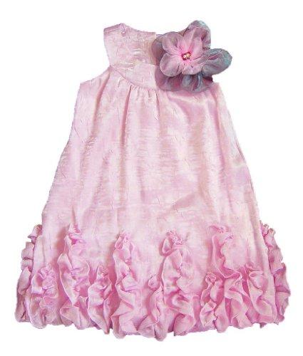 Peaches N Cream Girls 4-6X Pink Shimmer Flower Ruffle Dress, 4