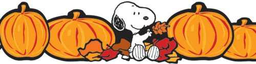 Eureka Peanuts Fall Pumpkins Extra Wide Die-Cut Deco Trim, Set of 12 Reusable Strips - 1