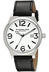 Stuhrling Original Men's 454.33152 Leisure Eagle Osprey Swiss Quartz Date Black Leather Strap Watch