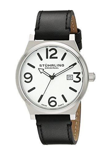 Stuhrling Original Men s Quartz Watch with White Dial Analogue Display and  Black Leather Strap 454.33152 e08c1abba1e
