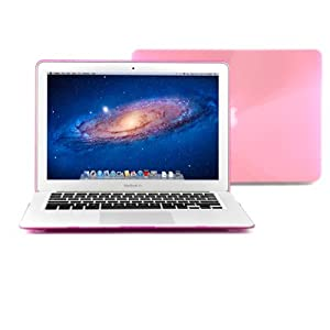 """GMYLE (R) Pink Crystal See Through Hard Shell Snap On Carrying Case Skin Slim Fit for 13 """" Apple Macbook Air - With TPU Pink Protective Keyboard Cover (with 1 Year Warranty from GMYLE) (Fit For 2013 Model)"""