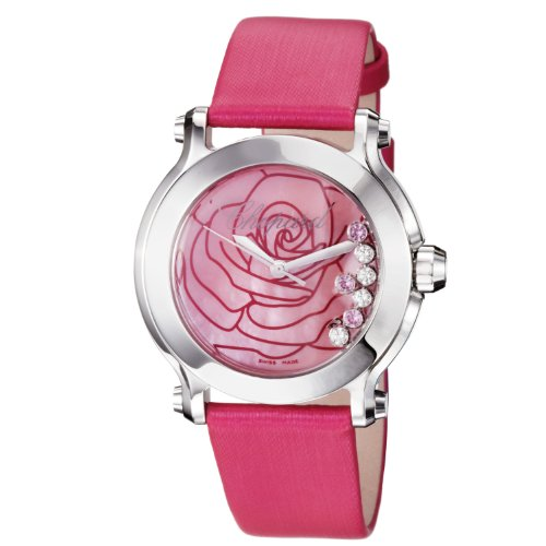 Chopard Women's Happy Sport 36mm Pink Satin Band Steel Case Sapphire Crystal Quartz Watch 278475-3029