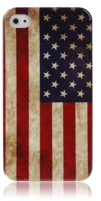 [A4E] Handyhülle passend für Apple iPhone 4 (4G;4S) aus TPU Silikon mit retro Amerika US USA Stars and Stripes Muster Flagge Fahne Design vintage used look (rot, blau, weiß)