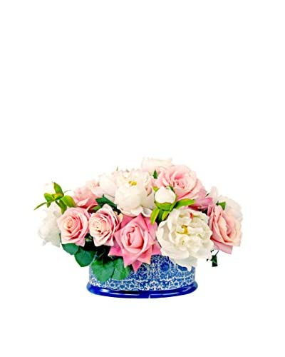 Creative Displays Assorted Rose And Peony Ceramic Planter, Pink/White/Blue